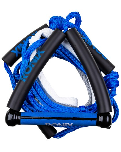 Ronix Bungee Stretch Surf Rope w/Handle 25ft 5-Sect Rope Package Blue
