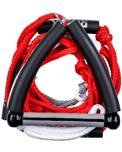 Ronix Bungee Stretch Surf Rope w/Handle 25ft 5-Sect Rope Package Red
