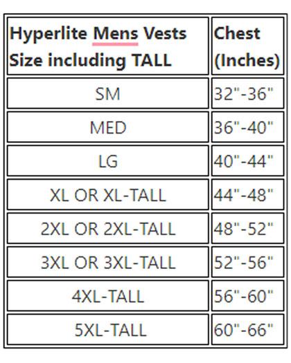 Hyperlite TALL NEOPRENE Life Jacket sizes