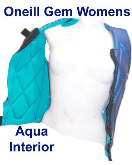 Oneill Gem Womens Comp Wake Vest Aqua Interior