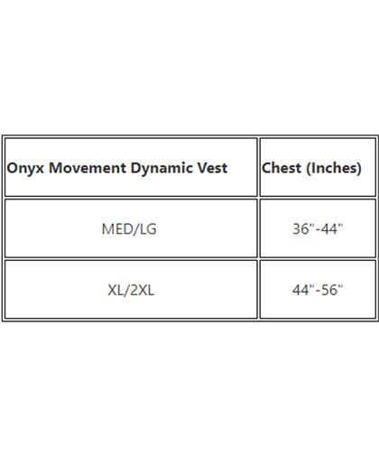 Onyx MoveVent Dynamic Nylon Life Vest USCGA Size Chart